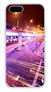 Apple iPhone 5S Case and Cover - Night lights stream Hard Plastic Case for iPhone 5/5S - White