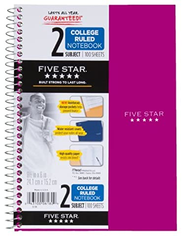 Five Star Spiral Notebook, 2 Subject, College Ruled Paper, 100 Sheets, 9-1/2
