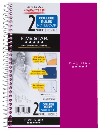 amazon com five star wirebound notebook 2 subject 100 college