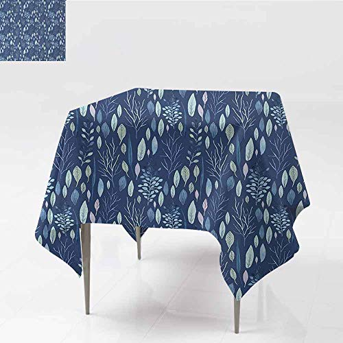 Elegant Waterproof Spillproof Polyester Fabric Table Cover Blue Big Set of Watercolor Floral Elements Herbs and Leaves Pastel Botanical Great for Buffet Table W54