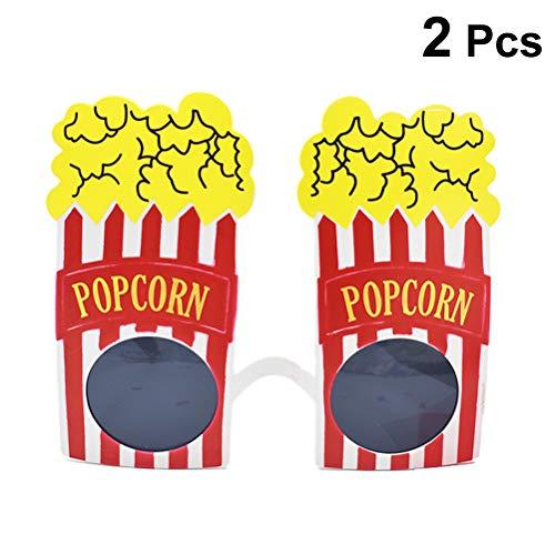 (Amosfun 2pcs Party Sunglasses Carnival Costumes Novelty Popcorn Eye Glasses Popcorn Frames Eyewear Fancy Dress Glasses Party Favors Photo)