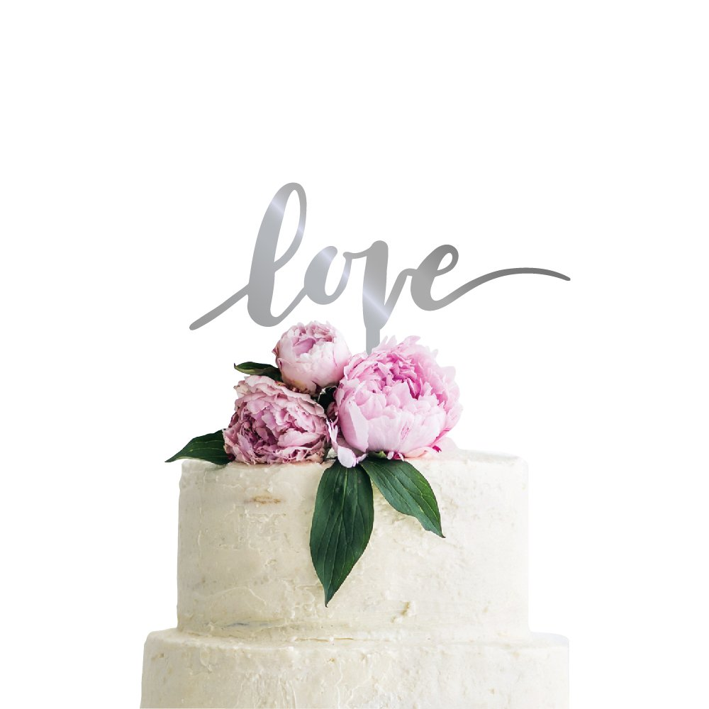 P Lab Love Wedding Cake Topper Acrylic Decoration for Special Event Silver Mirror