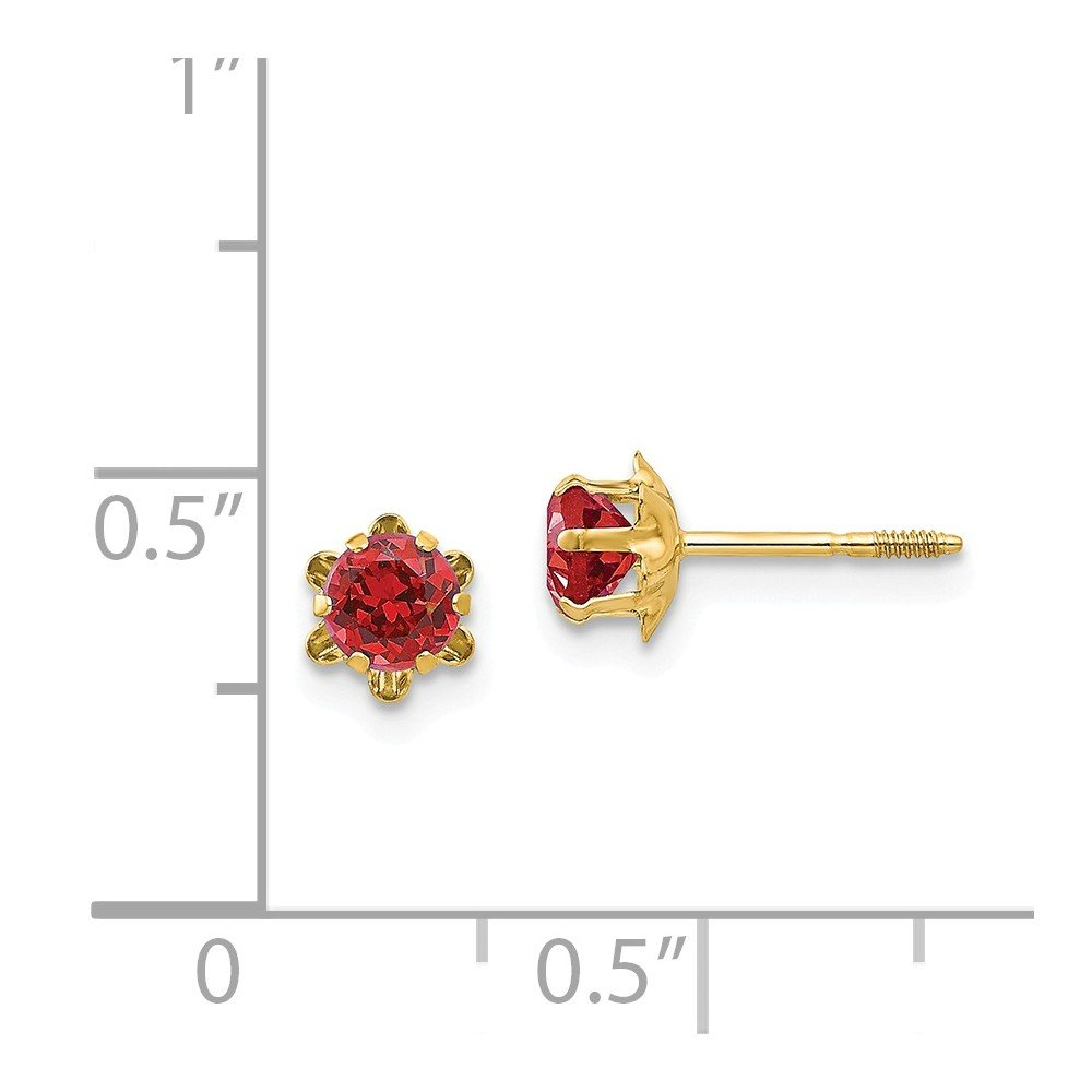 14K Yellow Gold Madi K Childrens 4 MM Synthetic July Birthstone Screw Back Earrings