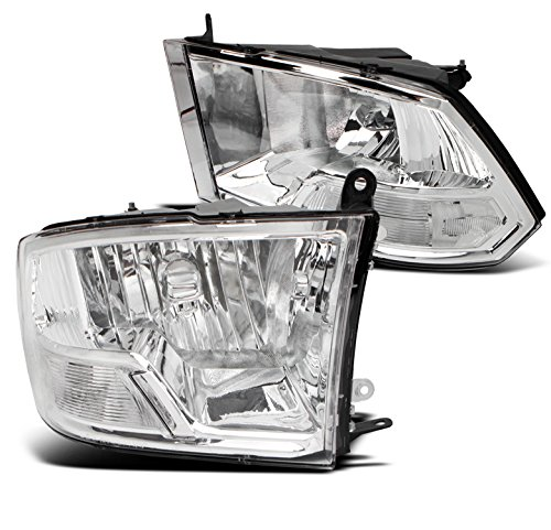 ZMAUTOPARTS 2009-2018 Dodge Ram 1500/2010+ 2500 3500 Pickup Crystal Style Replacement Headlights Headlamps Lamp Chrome ()