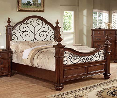 24/7 Shop at Home 247SHOPATHOME IDF-7811EK Poster Bed, King, Oak Bronze Poster Panel Bed