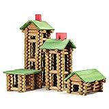 build a toy log cabin - SainSmart Jr. Wooden Building Blocks STEM Wooden Construction Toy for Kids, Log Cabin Set Building House Toy for Preschooler with Colorful Blocks 450 PCS/Set