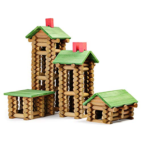 SainSmart Jr. Wooden Building Blocks STEM Wooden Construction Toy for Kids, Log Cabin Set Building House Toy for Preschooler with Colorful Blocks 450 PCS/Set (Frontier Building Set)