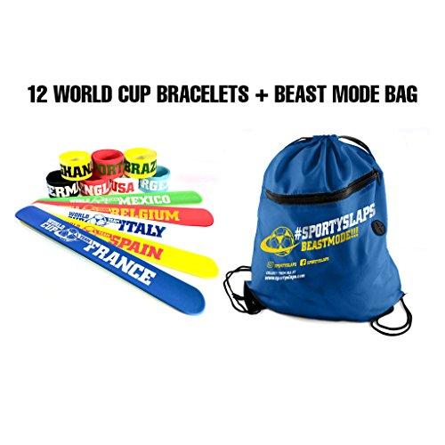 World Cup Slap Bracelets & Drawstring Bag (12 -