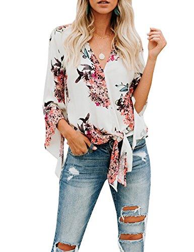 - Gemijack Womens Floral Blouses Chiffon Summer Short Sleeve Deep V Neck Tie Front Tops Shirts