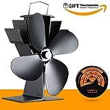 17% Fuel Cost Saving Original Top Heat Powered Eco Stove Fan 4 Blade Aluminum Black for Gas Coal Pellet Log Wood Burner Fireplace Oven Heater Fire Burning