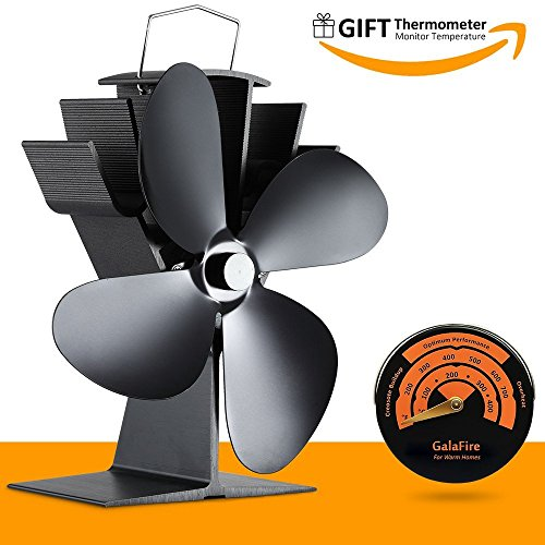 17% Fuel Cost Saving Original Top Heat Powered Eco Stove Fan 4 Blade Aluminum Black for Gas Coal Pellet Log Wood Burner Fireplace Oven Heater Fire Burning (Wood Fireplace Burning Blower)