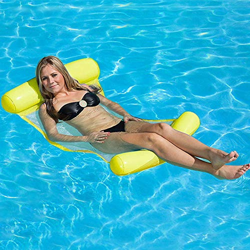 - LOVEYIKOAI Water Lounger Hammock Pool Float Inflatable Rafts Swimming Pool Air Lightweight Floating Chair Portable Swimming Pool Mat Suitable for Adults and Kids (Yellow)
