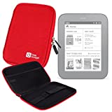 Water Resistant Protective Shell Red Case For Nook Simple Touch Reader 1st Edition & Simple Touch With GlowLight, By DURAGADGET