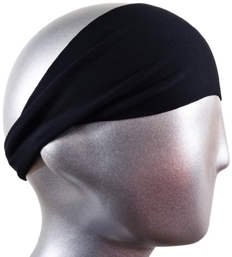 BONDI BAND SOLID MOISTURE WICKING 4″ HEADBAND, BLACK – Workout Sweatband; Great for Running, Walking, Crossfit, Skiing, Workouts; Super absorbent