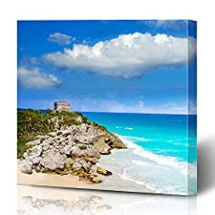 """Ahawoso Canvas Prints Wall Art Printing 16x12 Green Coast American Tulum Mayan City Ruins Riviera Miscellaneous America Parks Archeology Beach Painting Artwork HOME Living Room Office Bedroom DormSize: 16""""W x 12""""L/0.79"""" Thick;Canvas art is a ..."""