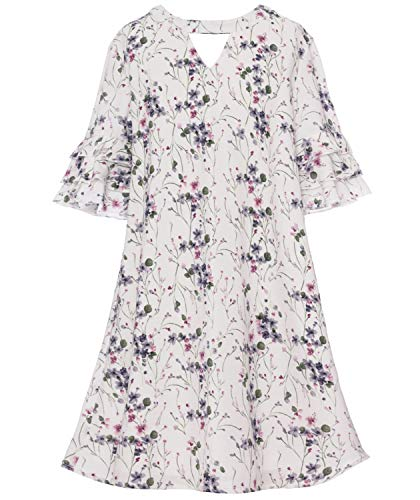 Smukke, Big Girls Beautiful Floral Printed Long Sleeves Dress(with Options), 7-16 (Ivory, 7)]()