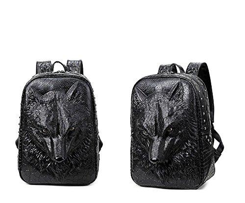 bolsa mochila de alta cabeza mochila 35L 20 ordenador lobo de 3D viaje de calidad PU portátil Black portátil Mens animal realista la Ea7Aqq