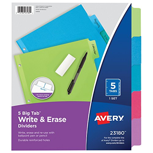 - Avery Big Tab Write & Erase Dividers, 5 Multicolor Tabs, 1 Set (23180)