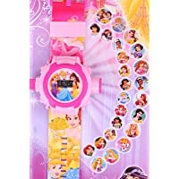 Rvold 24 Images Projector Pretty Girl's Digital Toy Watch - Pretty Girl Pink Color