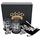 Image of Black Jack Whiskey Stones - Premium Reusable Stainless Steel Beverage Chilling Cubes with Glasses & Tongs – Set of 16