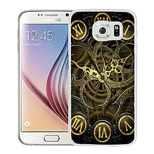 Samsung Galaxy S6 Clock Mechanism Steampunk Lockscreen White Screen Cellphone Case Luxurious and Handmade Cover