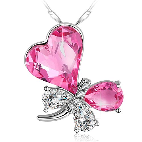 PLATO H 925 Sterling Silver Butterfly Node Pendant Necklace for Women, Pink Bow Charm Pendant Necklace with ♥Crystal from Swarovski, Romantic Jewelry Gift for Girl on Birthday Thanksgiving, Gift Box