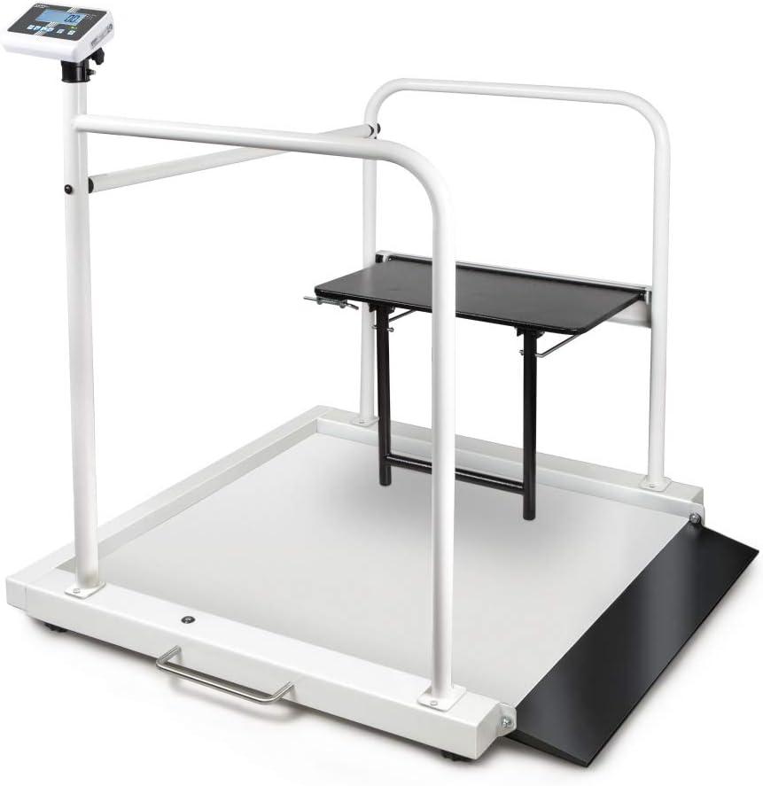 Kern MWA 300K-1M + MWA-A04 - Bascula para silla de ruedas con asiento, con rampa de acceso integrada y set de abrazaderas de retención con asiento plegable, Incl. HOMOLOGACIÓN