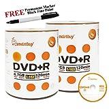 Smartbuy 200-disc 4.7GB/120min 16x DVD+R Logo Top Blank Media Record Disc + Black Permanent Marker
