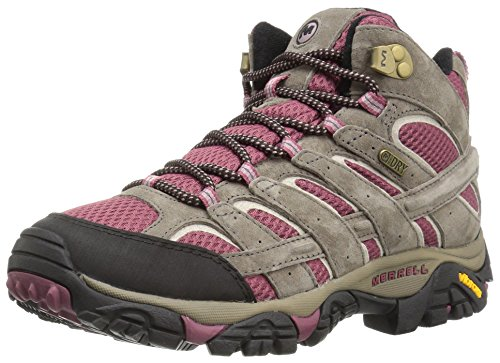 Merrell Women's Moab 2 Mid Waterproof Hiking Boot, Boulder/Blush, 8.5 M US