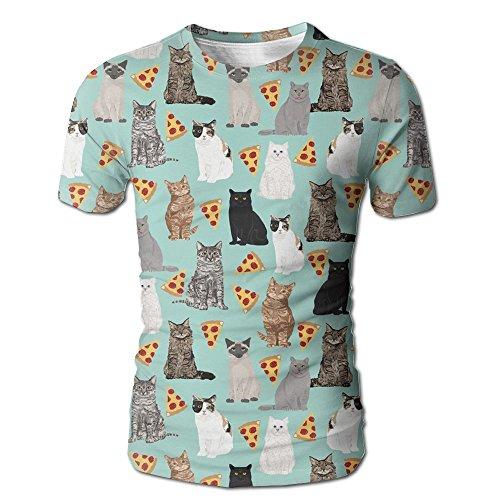 - MSACRH Cat and Pizza Men's Short-Sleeved T-Shirt Full Side Print Tee For Mens