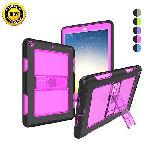 SLevel case for The New iPad 2017/2018 Heavy-Duty Full Body Shockproof Rugged Built-in Kickstand Compatible with New iPad 2017/2018 9.7 inches (Black+Hot ()