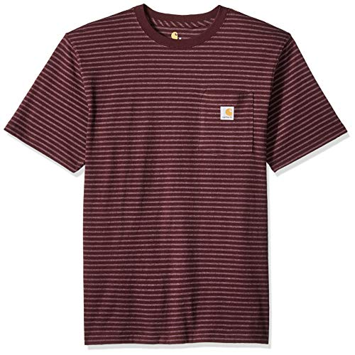 (Carhartt Men's K87 Workwear Pocket Short Sleeve T-Shirt (Regular and Big & Tall Sizes), port stripe, Large)