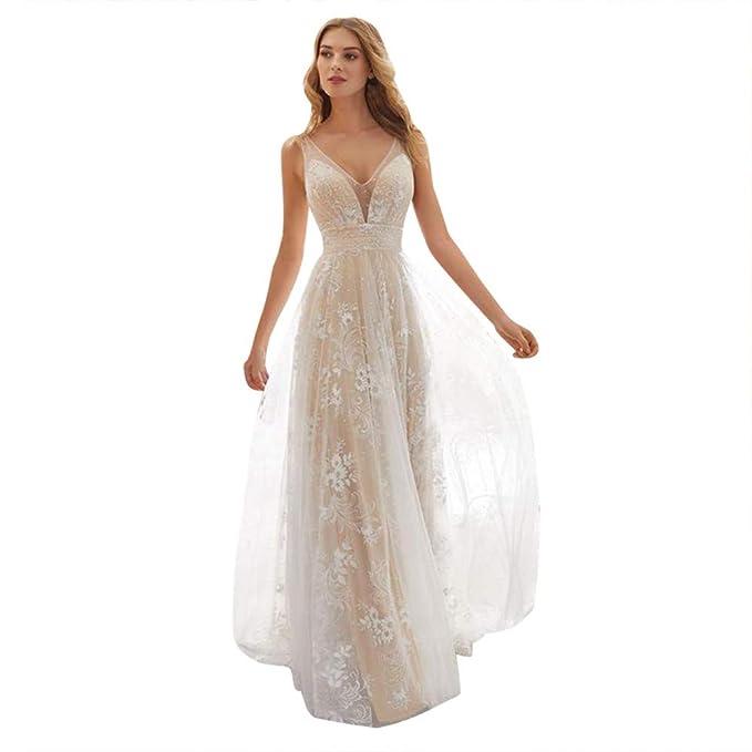 0a0d62bec28a8 Women V-Neck Off Shoulder Skirt,Formal Evening Party Dress Lace Sleeveless  Long Dress