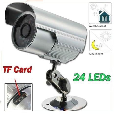 Takestop 801 - Cámara de vigilancia exterior 24 LED infrarrojos CCD (grabación en tarjeta Micro SD: Amazon.es: Bricolaje y herramientas