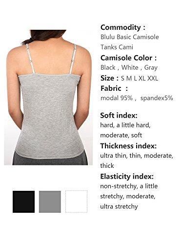 Blulu Damen Camisole Basic Camis Tank Top Cami Weste mit verstellbaren Trägern, 3 Farben, 3 Stück