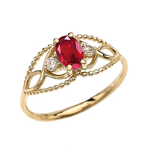 (10k Yellow Gold Elegant Beaded Solitaire Ring with Ruby and White Topaz(Size 7))