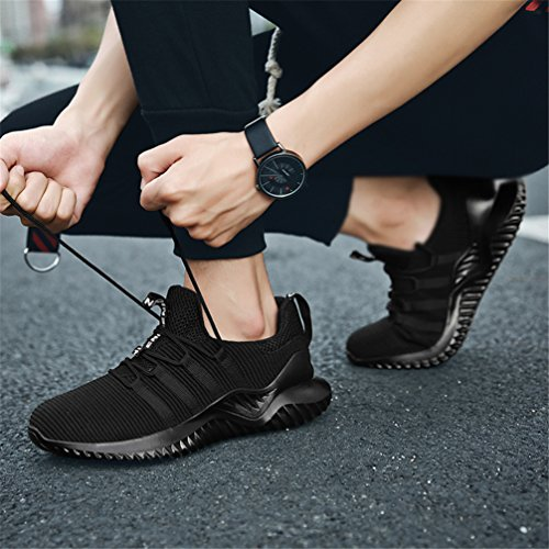 UBFEN Men's Sports Running Shoes Walking Athletic Trainers Casual Fashion Sneakers Lightweight Breathable Gym Fitness H Black WAiJTC