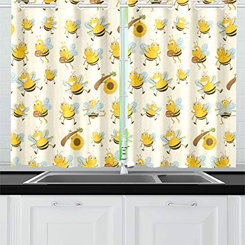 (RYUIFI Bee Cartoon Flying Bee Daisy Honey Pollen Flower Spring Animal Catton Kitchen Curtains Window Curtain Tiers for Café, Bath, Laundry, Living Room Bedroom 26 X 39 Inch 2 Pieces)
