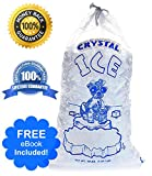Crystal Clear Commercial Ice Bags with Drawstring (10 lb or 20 lb) - Extra STRONG, Reusable, Puncture-Proof - Safe Food Grade Plastic (1.5 mil) (20lb (Pack of 50))
