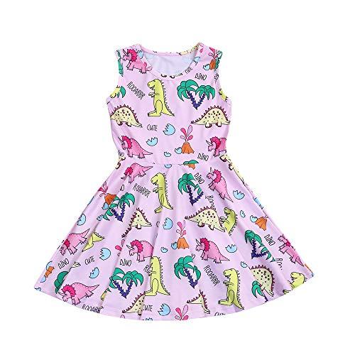 (YOUNGER TREE Toddler Kids Baby Girl Cartoon Dinosaur Print Tunic Casual Princess Party Dress (Dinosaur-Pink, 3-4)