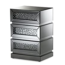 "Baxton Studio Stephanie Hollywood Regency Glamour Style Mirrored 3-Drawer Nightstand, ""Silver"" Mirrored"