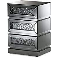 Baxton Studio Stephanie Hollywood Regency Glamour Style Mirrored 3-Drawer Nightstand, Silver Mirrored
