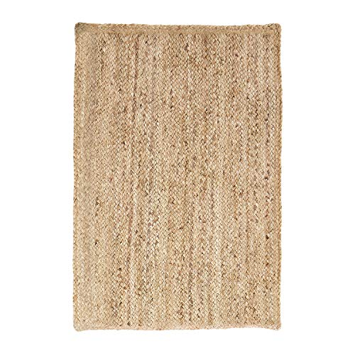 Superior Hand Woven Natural Fiber Reversible High Traffic Resistant Braided Jute Area Rug, 3' x - Hemp Rug