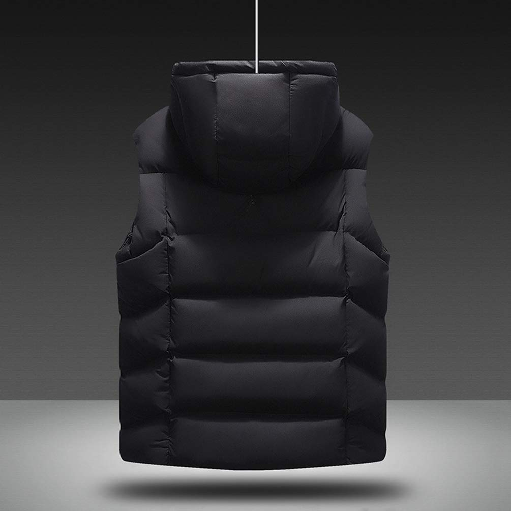 Kuncg Homme Veste Gilet Casual Chaud Gilet sans Manche Blouson Poche Zipper Hiver Gilet Noir