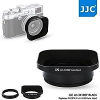 JJC Black Metal Square Reversible Lens Hood & 49mm Filter Thread Adapter Ring Kit for Fujifilm X100F X70 X100T X100S X100 Digital Camera replaces Fujifilm LH-X100