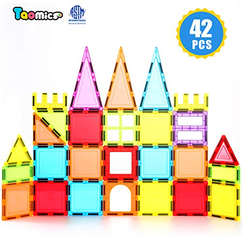 (Taomics 42PCS Magnetic Building Blocks, Strong 3D Clear Tiles Children Educational Stacking Toys for Imagination Inspirational Spatial Thinking Development, Magnet Construction Blocks Playboards Set)