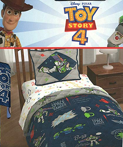 Pixar Disney Toy Story 4 Space Ranger Twin Quilt and Pillow Sham Set (Toy Set Story Blanket)