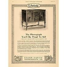1919 Ad Grand Rapids Phonograph Record Player Cabinet - Original Print Ad