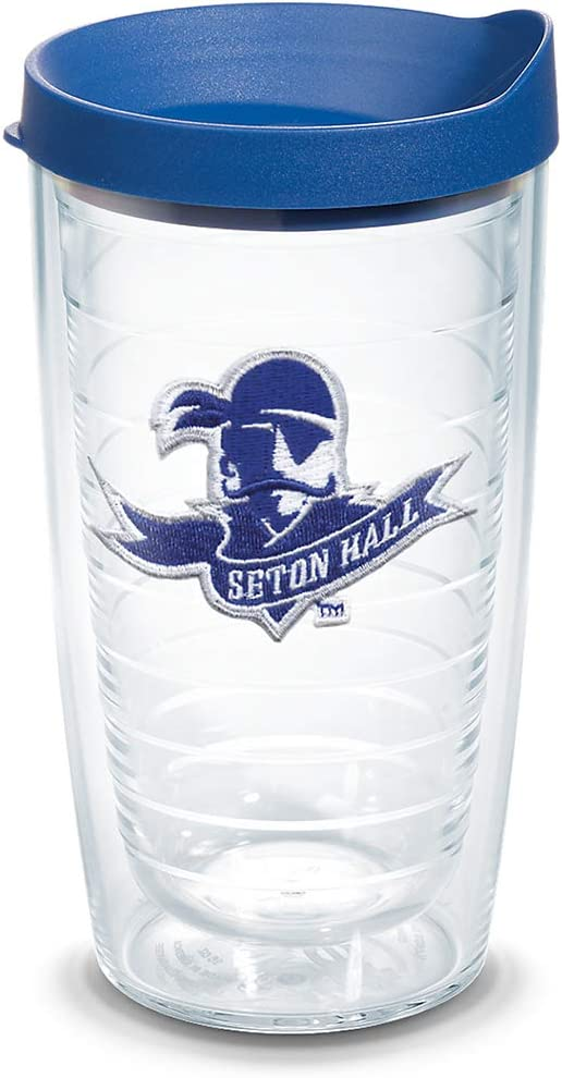 Tervis 1136031 Seton Hall Pirates Logo Tumbler with Emblem and Blue Lid 16oz, Clear