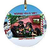 Home of Rottweiler 4 Dogs Playing Poker Photo Round Christmas Ornament